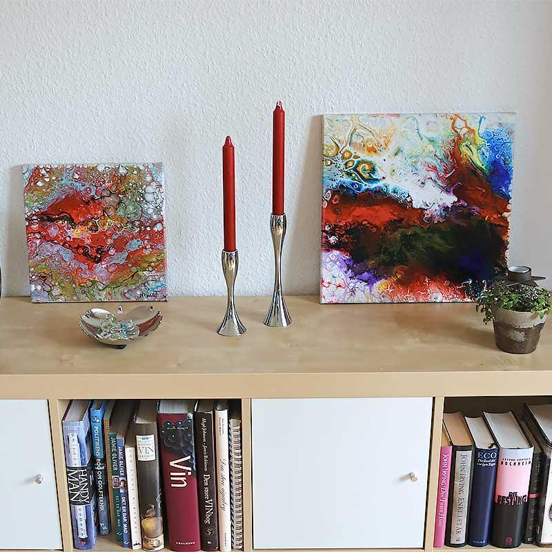 Sammensæt små malerier i collager