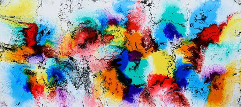 Stort maleri i skønne røde blå grønne farver - Elevation III