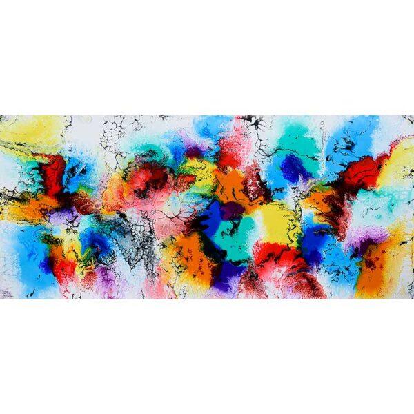 Stort maleri der giver farver i stuen - Elevation III