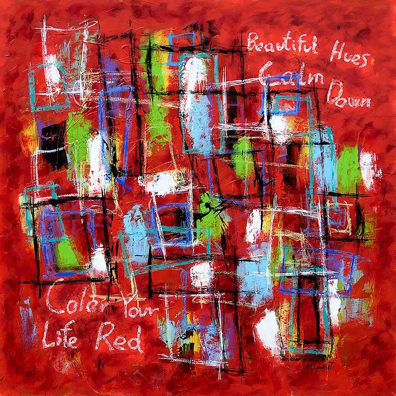 Farverigt maleri i røde farver - Abstract Colors VI