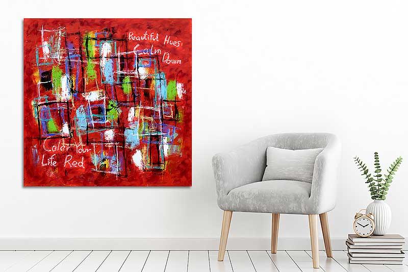 Røde malerier til væggen i stuen - Abstract Colors VI