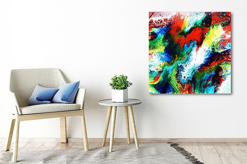 Maleri til stuen røde farver - Brilliance III