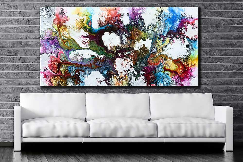 Malerier til væggen i stuen i farver med abstrakte motiver - Interstellar I 100x200 cm