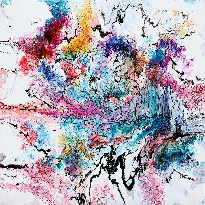 Smukt stort maleri med masser af flotte farver - Unity I