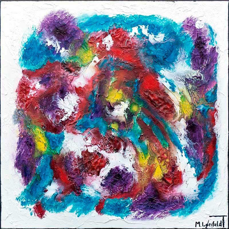 Maleri i flotte røde og blå farver - Horizon I