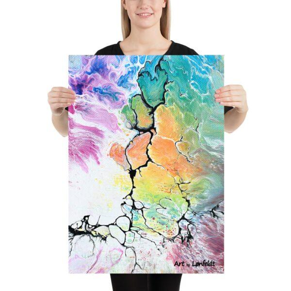 Farvestrålende posters der er en flot vægdekoration i hjemmet