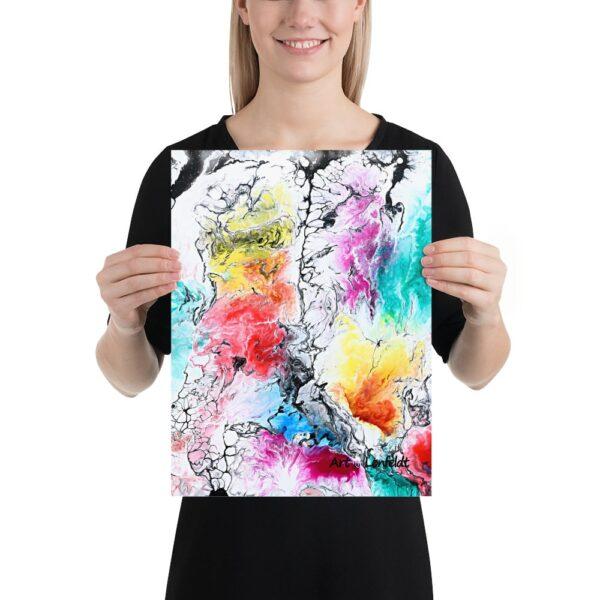 Plakatkunst med farverige abstrakte kunstmotiver