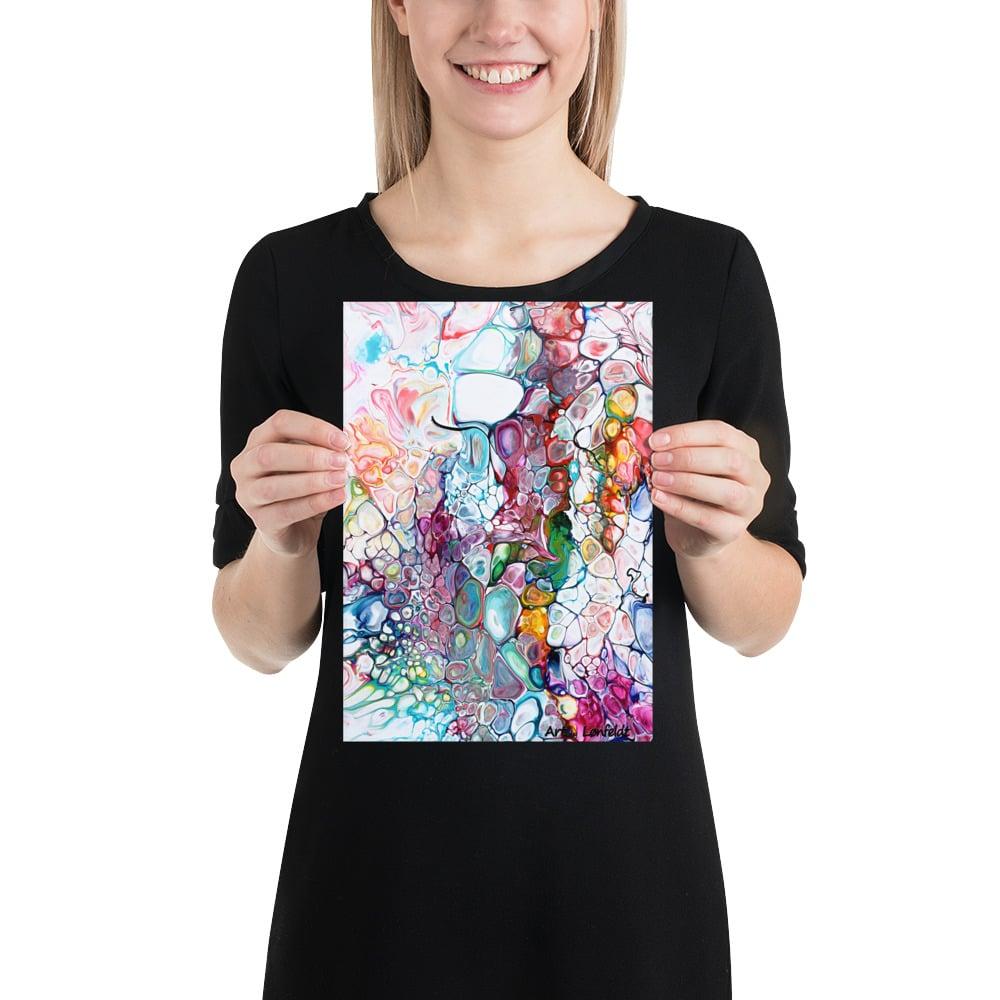 Lille plakat med et abstrakt kunst motiv i flotte farver - perfekt til billedvægge og små vægge - Prime IV 20x30 cm