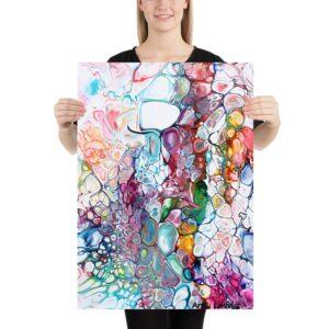 Mellemstor kunstplakat med et flot abstrakt design i skønne farver - perfekt til steder på vægge hvor der ikke er meget plads - Prime IV kunstplakat 50x70 cm