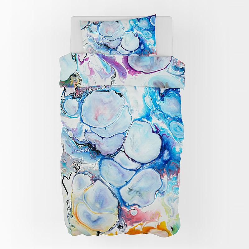 Sengelinned i satin i 100% bomuld - smukt abstrakt design