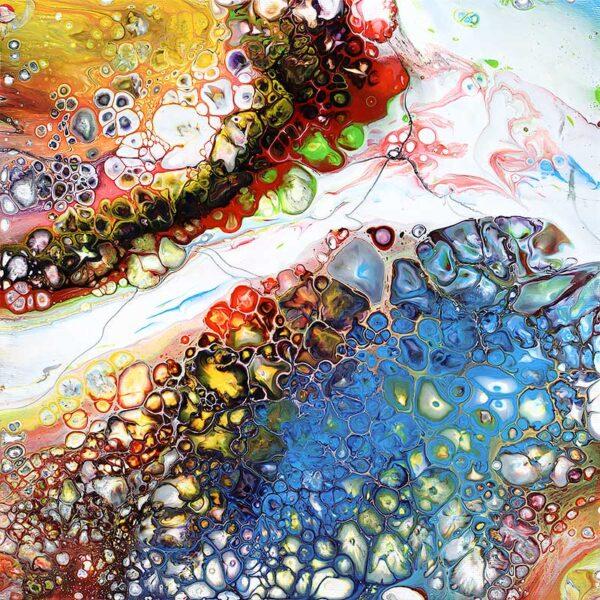 Farverigt abstrakt lille maleri - Blaze I