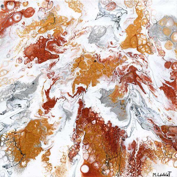 Dejligt maleri i iriserende guld, kobber og sølv farver - Precious VII