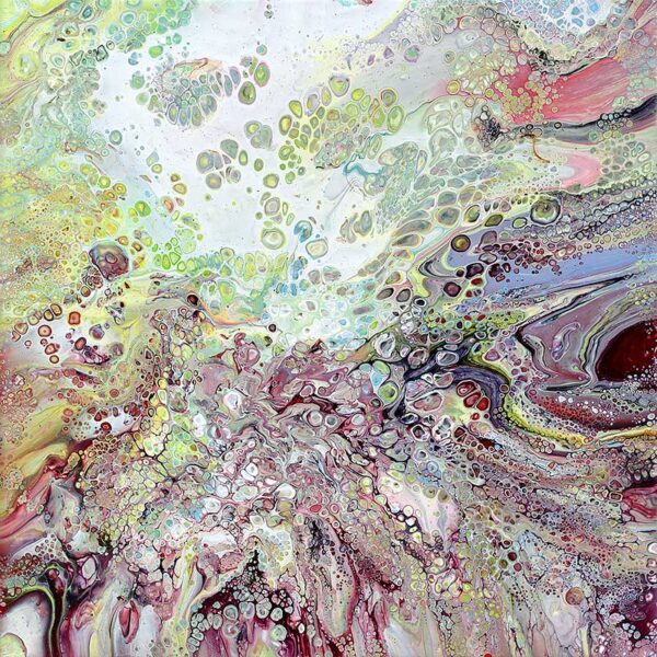 Online malerier i lilla og grønne farvenuancer - Refuge II