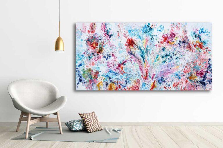 Abstrakt kunst til væggen i stuen - Prime VI