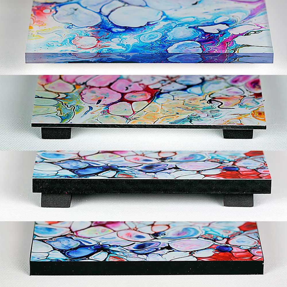 4 paneler - akrylpanel, dibond panel, Gatorboard og Foamex panel - til opklæbning af kunstplakater