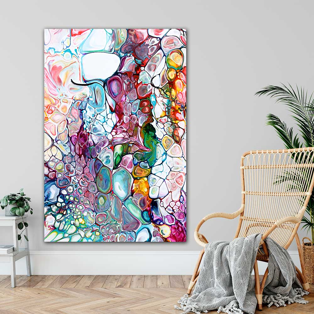 Abstrakte kunstplakater og plakater med kunst er flotte billder til væggen i stuen - Prime IV - 100x150 cm