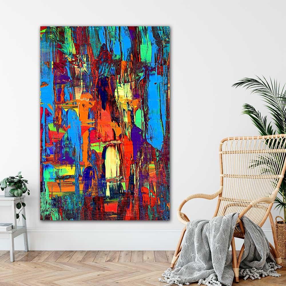 Store farverige abstrakte plakater med kunst og flotte kunstplakater - Fireflies I 100x150 cm