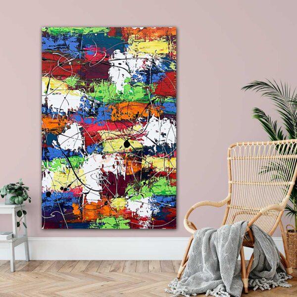 Store plakater med kunst til stuen Vibrant Moor I 100x150 cm