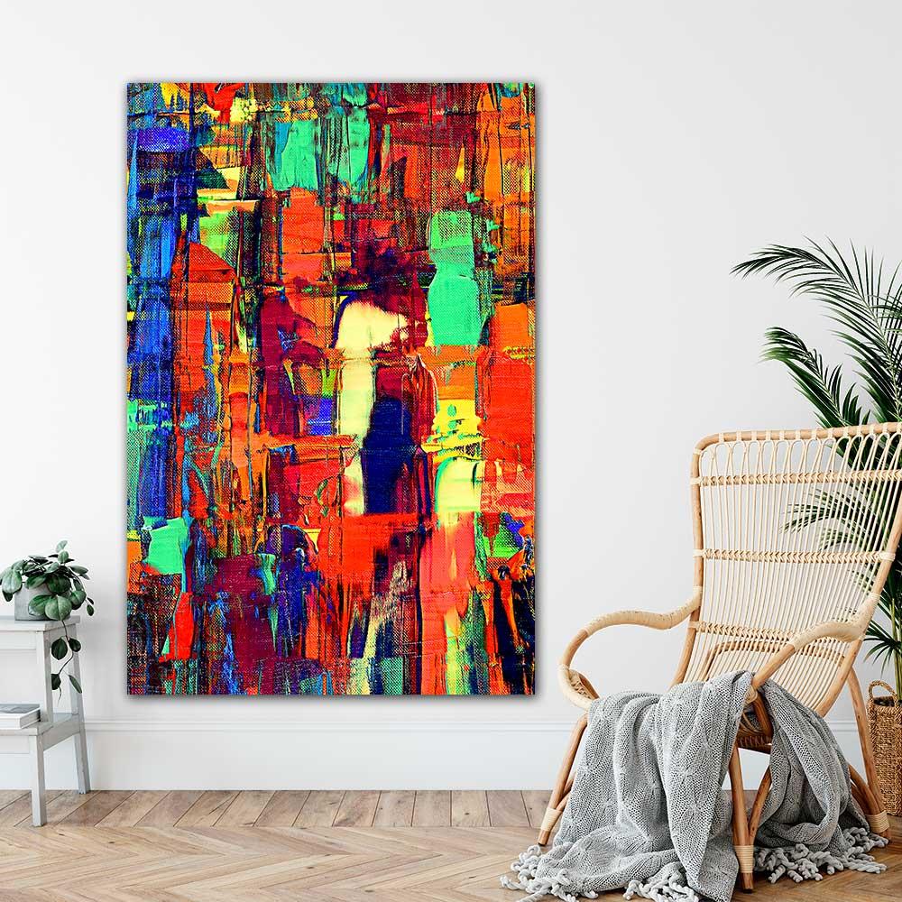 Store malerier er flotte billeder til væggen i stuen - Prime VII 100x200 cm