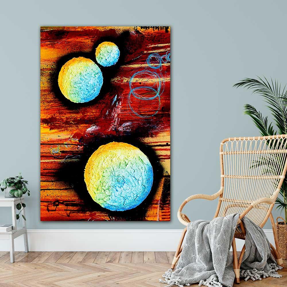Store plakater med abstrakt farverig kunst er flotte vægbilleder til hjemmet Sphere II 100x150 cm