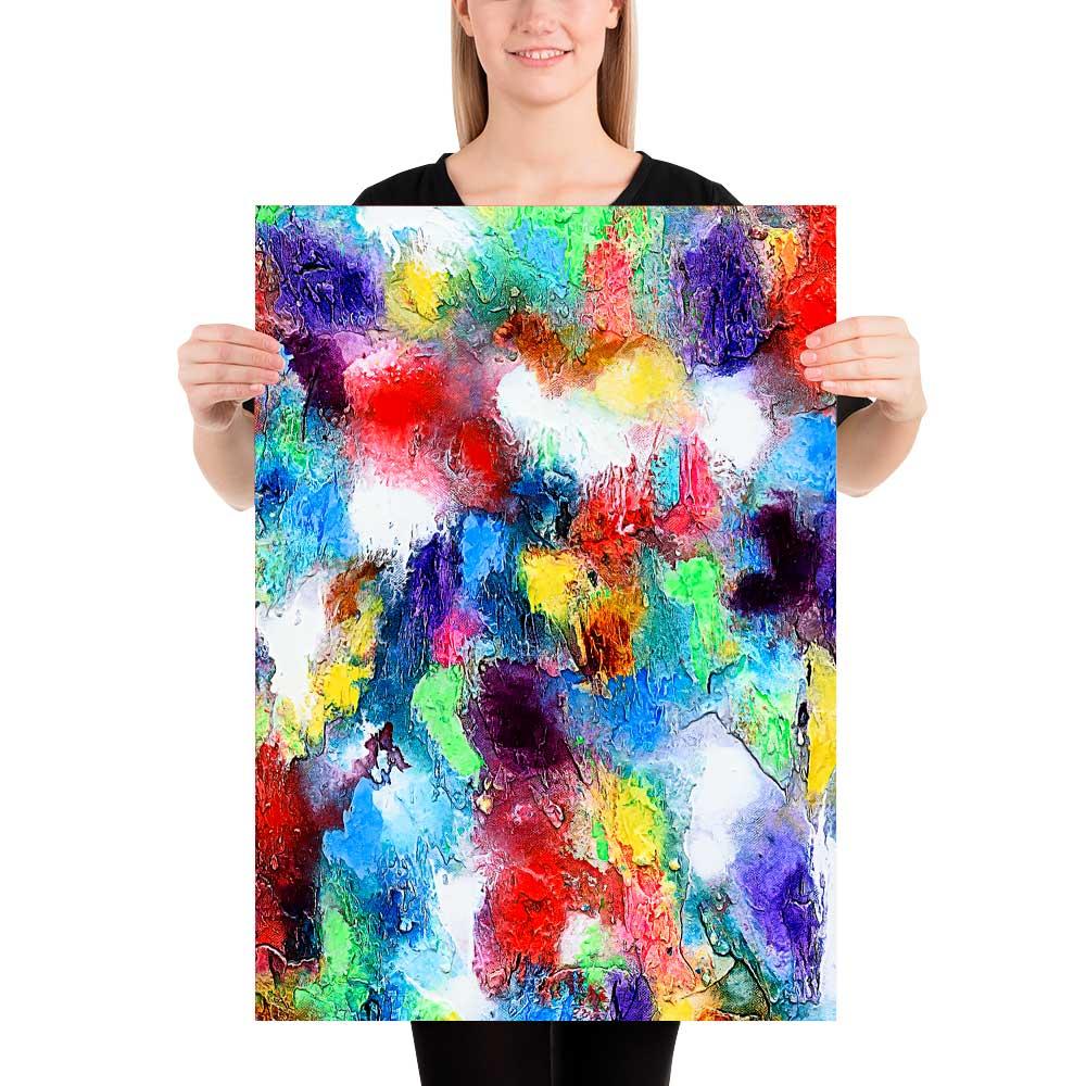 Kunstplakater er en mulighed for at få billige moderne farverige kunst billeder til din væg i stuen Alteration I 50x70 cm
