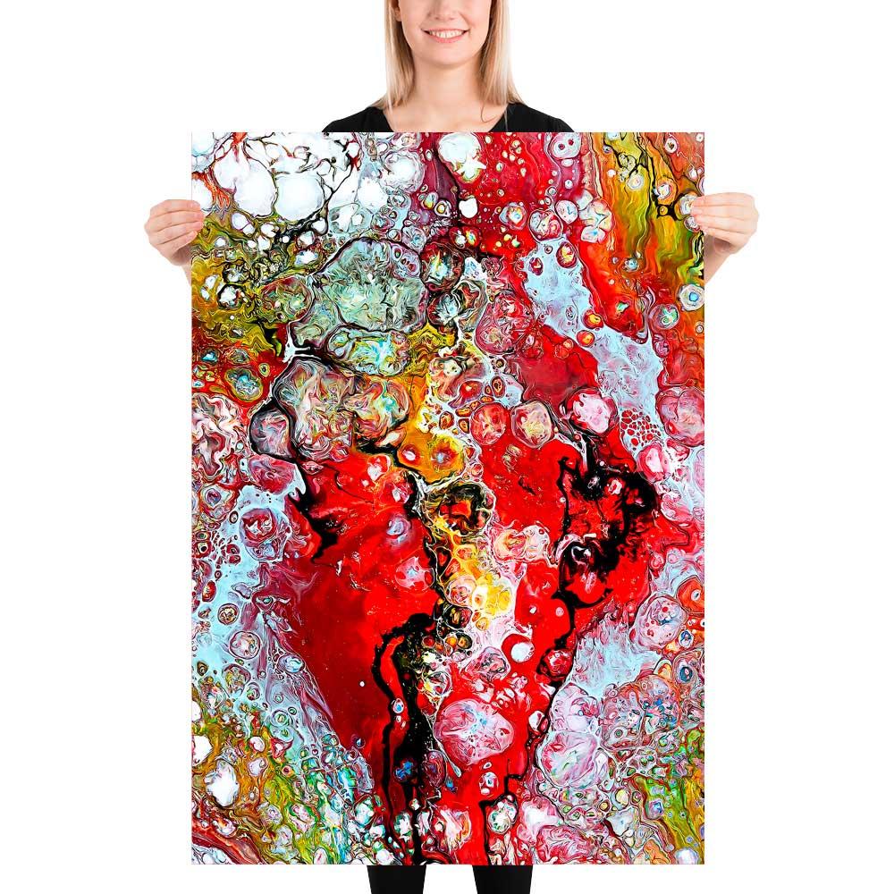 Kunstplakater i røde farver er moderne abstrakt kunst der er perfekte som vægbilleder i stuen - Essence I 70x100 cm
