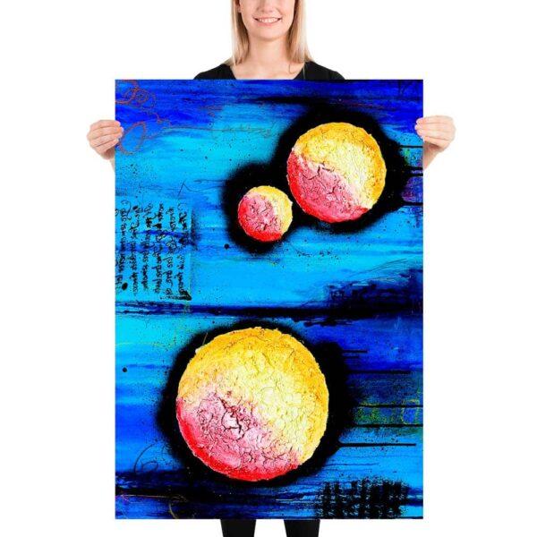 Kunstplakater er flot abstrakt kunst med flotte store billeder til væggen i stuen Sphere I 70x100 cm