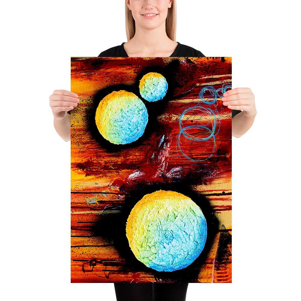 Plakater med moderne abstrakt kunst er vægbilleder der giver et klassisk og tidsløst udtryk i hjemmet Sphere II 50x70 cm