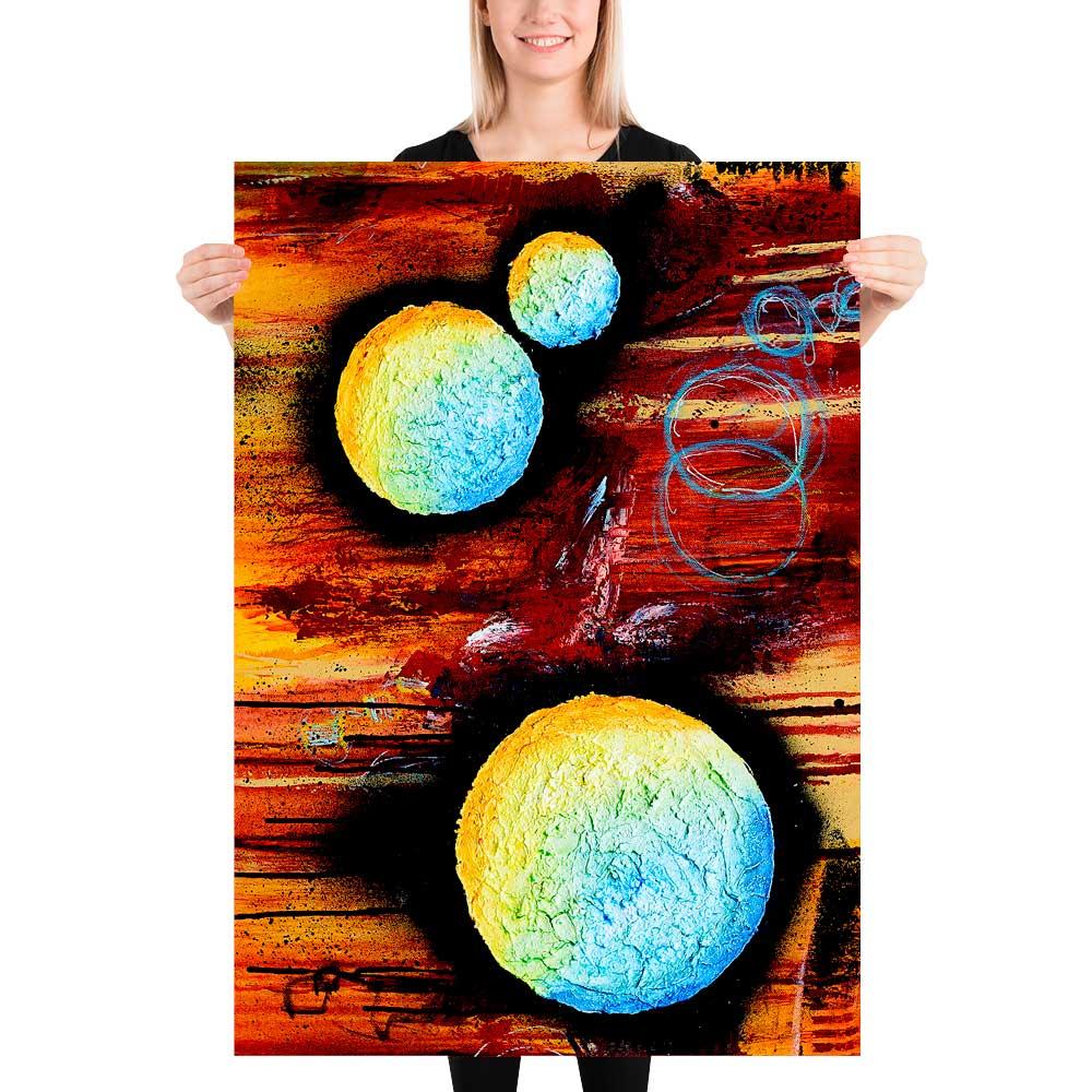 Store kunstplakater er flotte billeder med moderne kunst til væggen i stuen Sphere II 70x100 cm