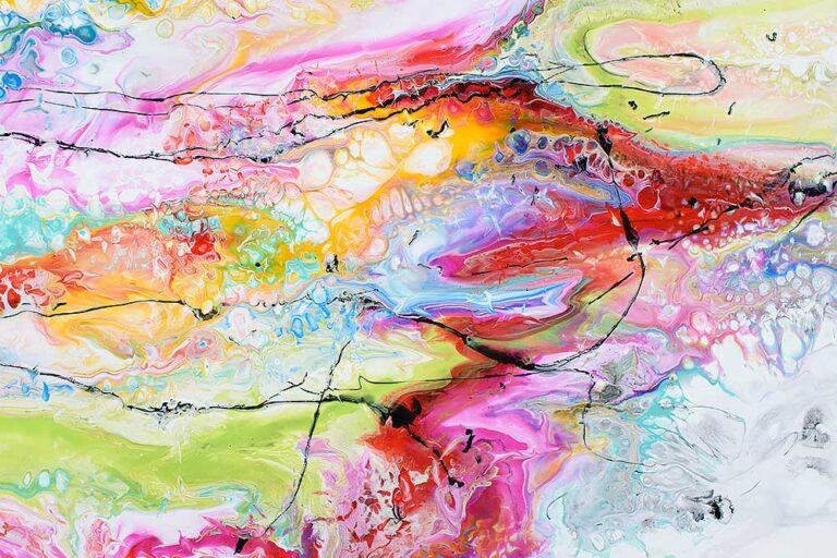 Flotte unikke danske farverige malerier er smuk kunst på lærred - Fusion II 100x100 cm