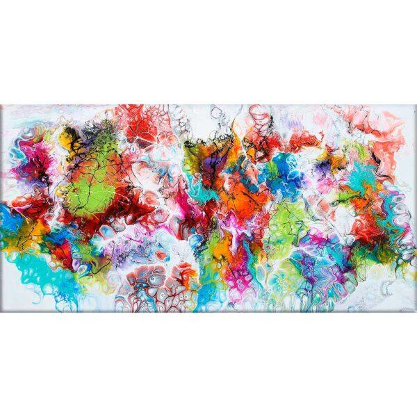 Abstrakt kunst maleri er god vægkunst der giver et naturligt blikpunkt i stuen - Fusion I - 70x140 cm
