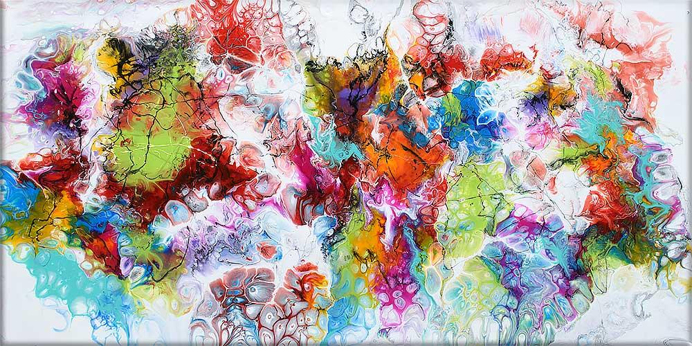 Farverige malerier er flot abstrakt kunst til væggene i dit hjem - Fusion I - 70x140 cm