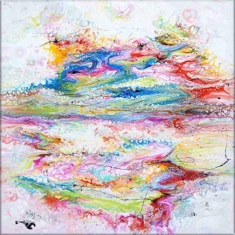 Store abstrakte akrylmalerier er flot moderne kunst til væggen - Fusion II 100x100 cm