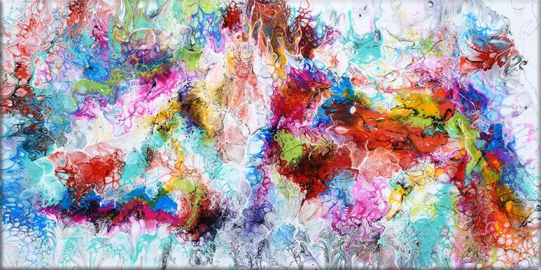 Store moderne malerier er flot abstrakt kunst til hjemmets rum - Fusion III 70x140 cm