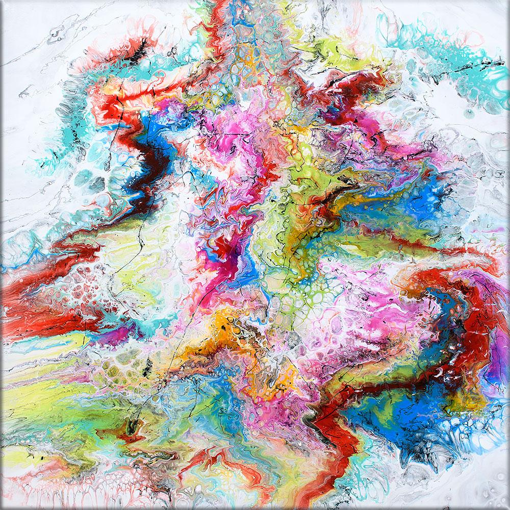 Store farverige abstrakte akryl malerier er tidsløst og holdbart moderne kunst til stuen - Fusion IV 100x100 cm
