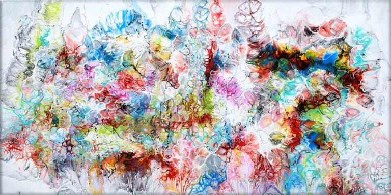 Akrylmalerier i skønne farver passer perfekt til moderne skandinaviske hjem - Fusion V 70x140 cm