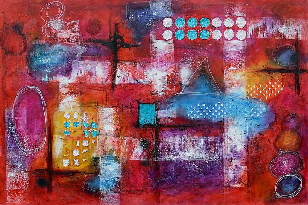 Store malerier er flot abstrakt kunst der passer perfekt ind i moderne hjem - Intuition I - 100x150 cm