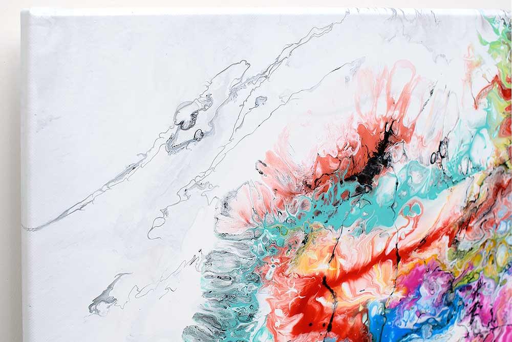 Kunst maleri med farver er et flot billede til stuen - Fusion IV 100x100 cm