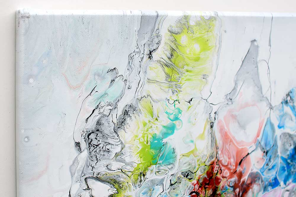 Kunstmalerier med flotte farver er tidsløs moderne dekoration af væggen - Fusion V 70x140 cm