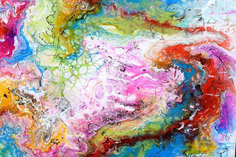 Smukke malerier er flot moderne kunst til væggen i stuen - Fusion IV 100x100 cm