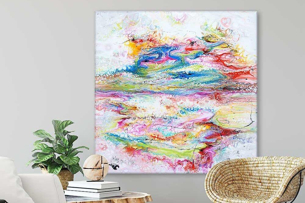 Store akrylmalerier på lærred til salg online - flotte billeder til væggen - Fusion II 100x100 cm