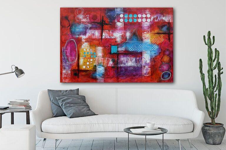 Store malerier er flotte billeder til væggen i stuen - Intuition I - 100x150 cm