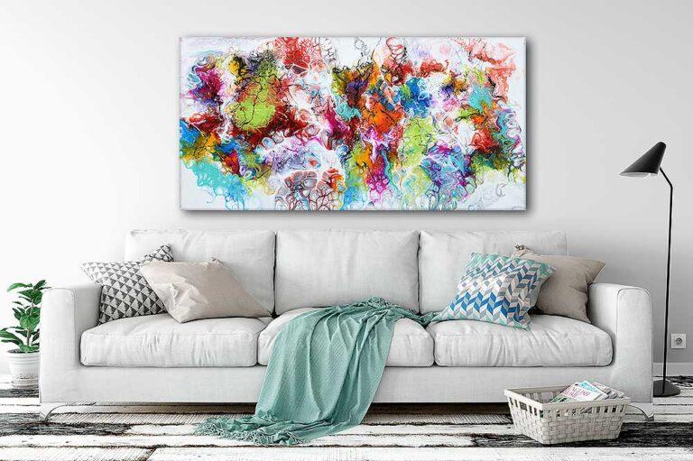 Store malerier er smukke billeder til væggen i stuen - Fusion I - 70x140 cm