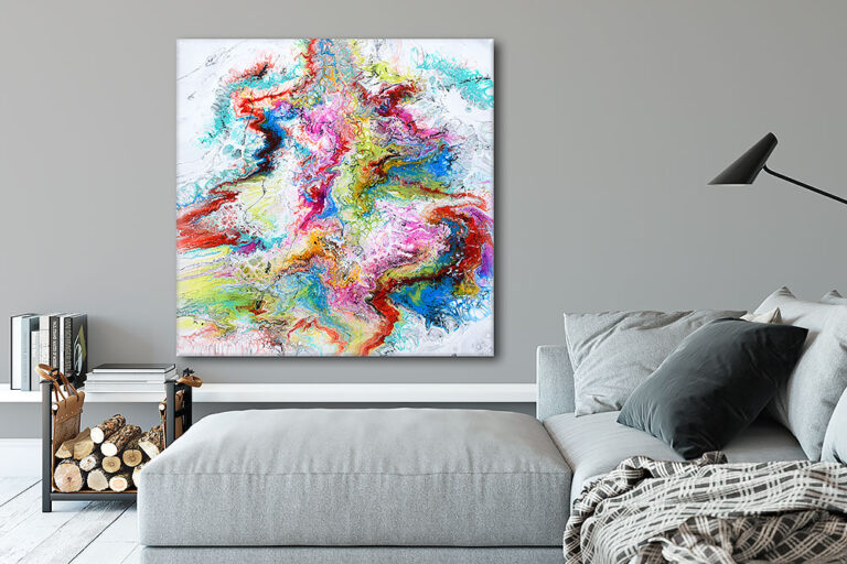 Store malerier på lærred er flotte væg billeder til stuen - Fusion IV 100x100 cm