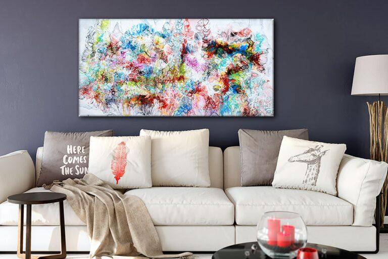 Store malerier til salg til væggen i stuen - Fusion V 70x140 cm
