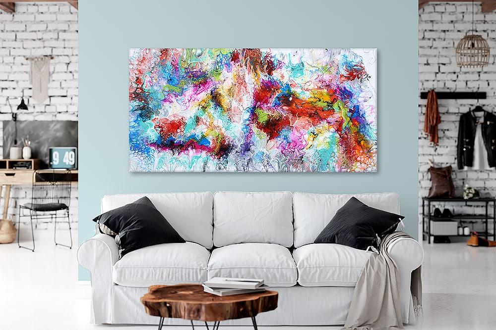 Store moderne malerier er flotte billeder til væggen i stuen - Fusion III 70x140 cm