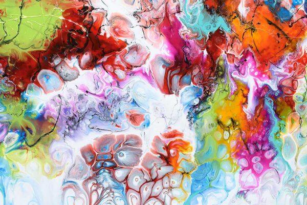 Stort maleri til hjemmet med flotte farver - Fusion I - 70x140 cm