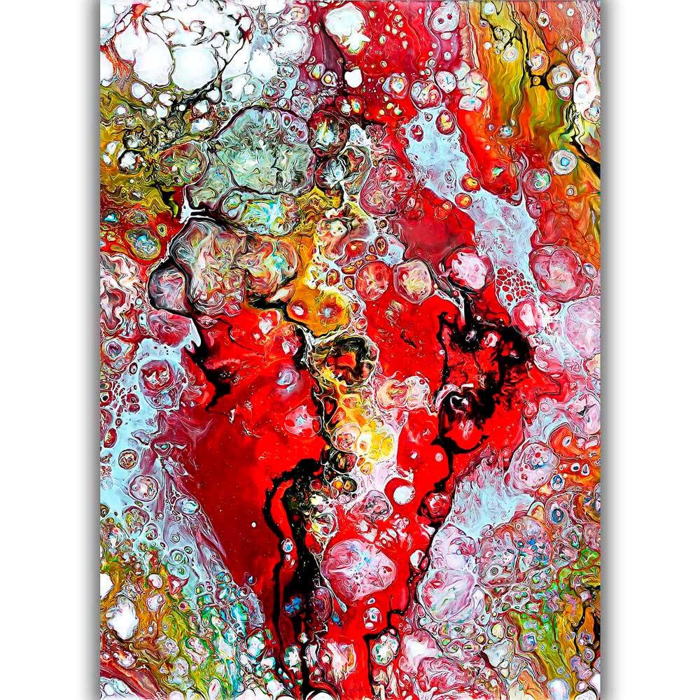 Kunstplakater i røde farver er moderne abstrakt kunst der er perfekte som vægbilleder i stuen - Essence I