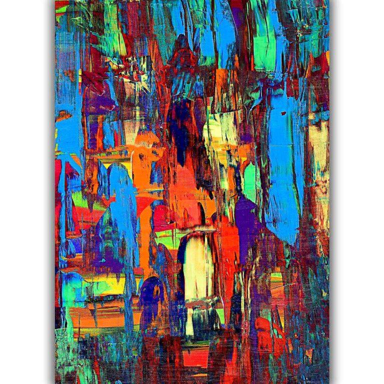Moderne kunstplakater i abstrakt design med flotte farver til væggen i stuen - Fireflies I
