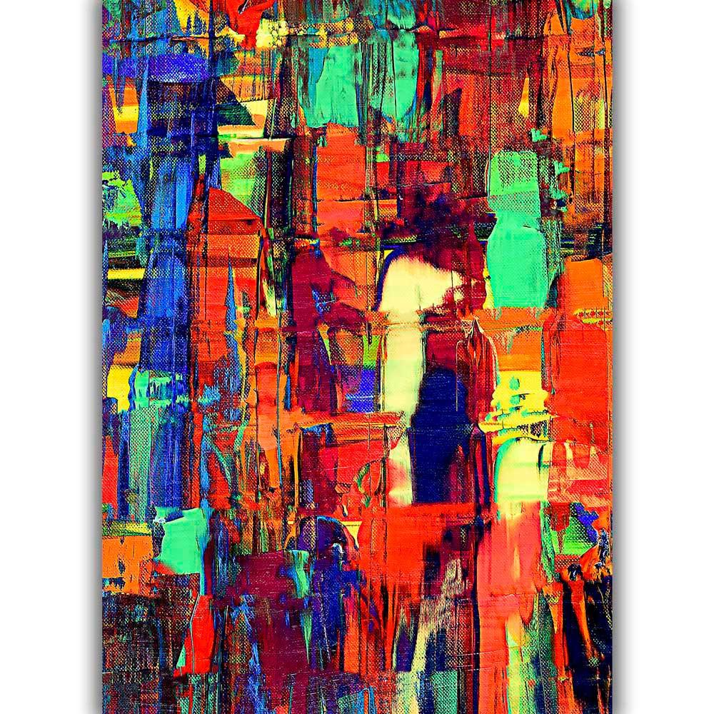 Farvestærk kunst plakater er god kunst der pynter på væggen over sofaen i stuen - Fireflies II